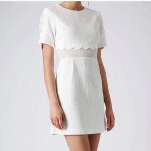 Topshop White Scallop Dress Size 6